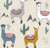 Seamless pattern with llama and cactus. vector illustration for fabric, textile,wallpaper stock illustration