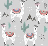 Seamless pattern with llama and cactus. vector illustration for fabric, textile,wallpaper. stock image