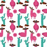 Seamless pattern with llama in sombrero, cactus and hand drawn elements. Creative childish texture. Great for fabric, textile hand vector illustration