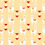 Seamless pattern with llamas in poncho and graphic elements. Trendy cartoon print. vector illustration