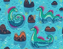 Vector seamless pattern with cute Loch Ness Monsters and decorative hills in the lake. Cartoon blue surface background. Seamless pattern with Loch Ness Monsters vector illustration