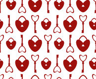 Seamless Pattern with lock and key in the form of heart. Stock Images