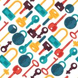 Seamless pattern with locks and keys icons Royalty Free Stock Photography