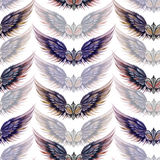 Seamless pattern of logos in the form of wings and heraldic lilies, hand drawn Stock Photography