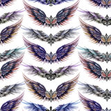 Seamless pattern of logos in the form of wings and heraldic lilies, hand drawn in a watercolor on a white background Royalty Free Stock Images