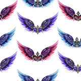 Seamless pattern of logos in the form of wings and heraldic lilies, hand drawn in a watercolor on a white background Royalty Free Stock Image