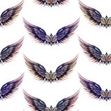 Seamless pattern of logos in the form of wings and heraldic lilies Stock Photos