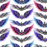 Seamless pattern of logos in the form of wings and heraldic lilies Royalty Free Stock Photography