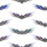 Seamless pattern of logos in the form of wings and heraldic lilies Royalty Free Stock Image