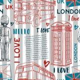 Seamless pattern with London landmark symbols on striped background. Royalty Free Stock Photography