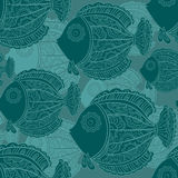 Seamless pattern of a lot of beautiful decorative fishes Stock Photography