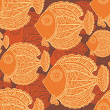 Seamless pattern of a lot of beautiful decorative fishes Royalty Free Stock Image
