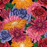 Seamless pattern with a lot of flowers on black background Stock Photography