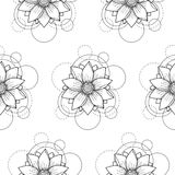 Seamless pattern with lotus and circles on white background. Abstract floral seamless pattern with lotus and circles on white background. Fashion background for Royalty Free Stock Images