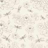Seamless pattern lotus flower and dragonfly vector illustration