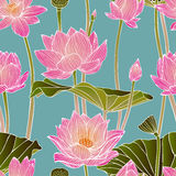 Seamless pattern - lotus flowers Royalty Free Stock Photo