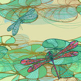 Seamless pattern with lotus leaves and dragonflies Royalty Free Stock Photo