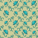 Seamless pattern with lotuses Stock Image