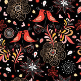 Seamless pattern of love birds stock illustration