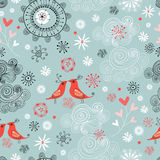 Seamless pattern of love birds Stock Image