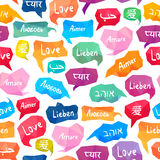 Seamless pattern - Love on different languages Stock Images