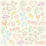Seamless pattern with love doodles Royalty Free Stock Image