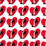 Seamless pattern with love hearts and shoes. Vector illustration Stock Photography
