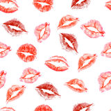 Seamless pattern of love kisses Royalty Free Stock Images