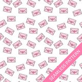 Seamless pattern with love letters. The envelopes with hearts on a white background. Vector illustration stock illustration