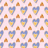 Seamless pattern. Love print. Decorative pattern with hand drawn hearts royalty free illustration