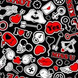 Seamless Pattern Of Love Stickers In 80s-90s Pop Comic Style. Stock Photos