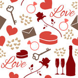 Seamless pattern love theme. Seamless pattern for valentine's day or wedding day with bottle, glasses, rose, key, letter, ring, heart etc Royalty Free Stock Photo