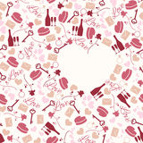 Seamless pattern love theme. Seamless pattern for valentine's day or wedding day with bottle, glasses, rose, key, letter, ring, heart etc Royalty Free Stock Image