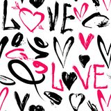 Seamless pattern with love words, hearts stock illustration
