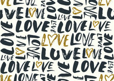 Seamless pattern with love words, hearts. Royalty Free Stock Photography