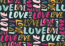 Seamless pattern with love words, hearts. Royalty Free Stock Image