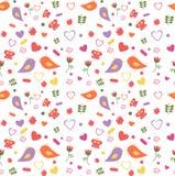 Seamless pattern of lovebirds stock illustration