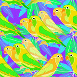 Seamless pattern lovebirds parrot with a red beak.  vector illus Stock Image