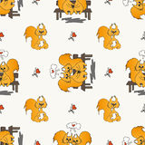 Seamless pattern with loved squirrel. Seamless pattern with loved doodling squirrel, set design for St.Valentine Day Royalty Free Stock Images