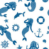 Seamless pattern with lovely cartoon mermaids. And decorative sea elements as wheel, shells, anchor, fish Royalty Free Stock Photo