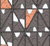 Seamless pattern with lovely dark foxes in triangle shape Stock Photo