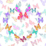 Seamless pattern lovely multicolored butterflies fly in the form. Of heart vector illustration vector illustration