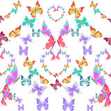 Seamless pattern lovely multicolored butterflies fly in the form Royalty Free Stock Photo