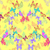 Seamless pattern lovely multicolored butterflies fly in the form. Of heart on yellow vector illustration royalty free illustration