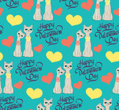 Seamless pattern with lovers cartoon cats hearts Royalty Free Stock Image