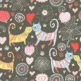 Seamless pattern with lovers cats. Seamless floral pattern of colorful cats on a brown background