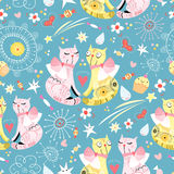 Seamless pattern with lovers cats Royalty Free Stock Images