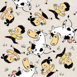 Seamless pattern lovers of milk. Royalty Free Stock Images