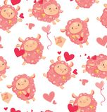 Seamless pattern of loving cute sheep for a Valentines day. Cartoon happy jumping sheep with hearts and love letters and. Baloons, for holiday package paper vector illustration