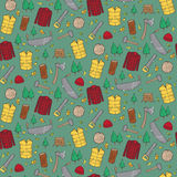 Seamless pattern with lumberjack's elements. Stock Images